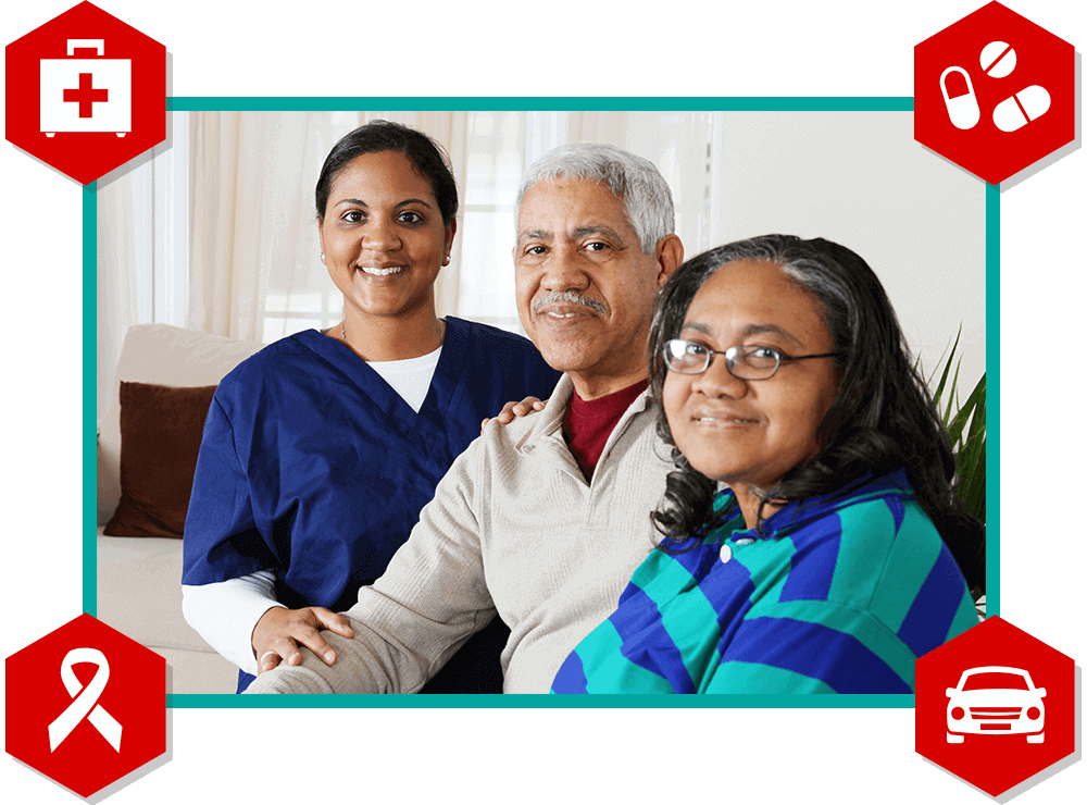 Nurse, patient, and wife with icons of medical, pharmacy, cancer ribbon, and car.