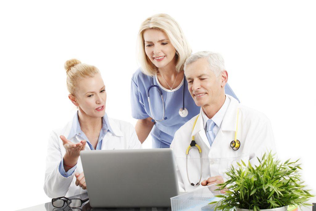 Medical professionals talking